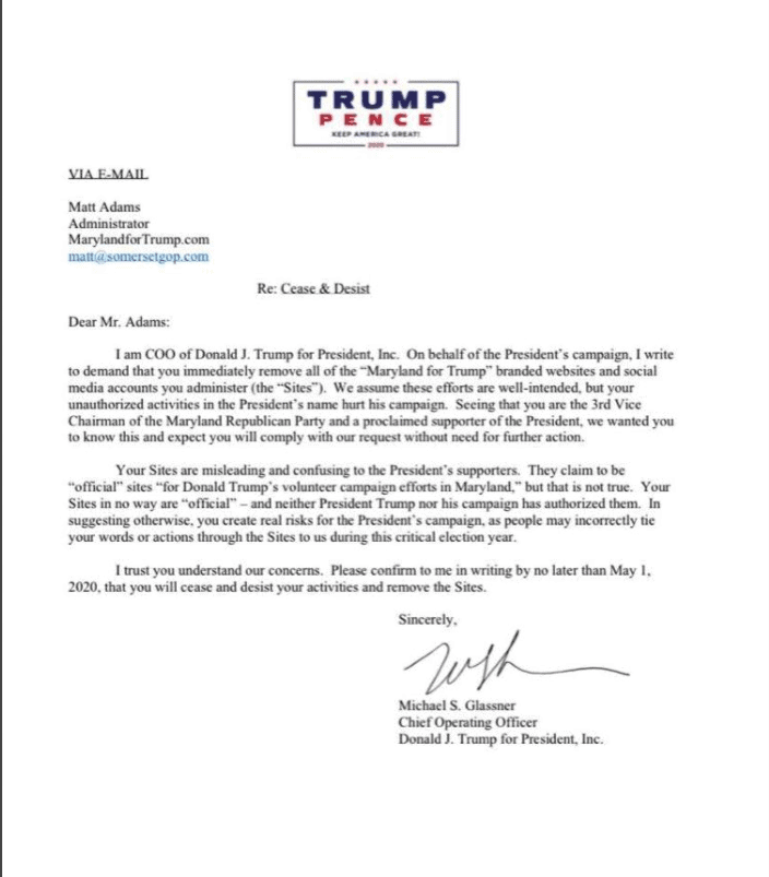Trump campaign issues cease and desist letter