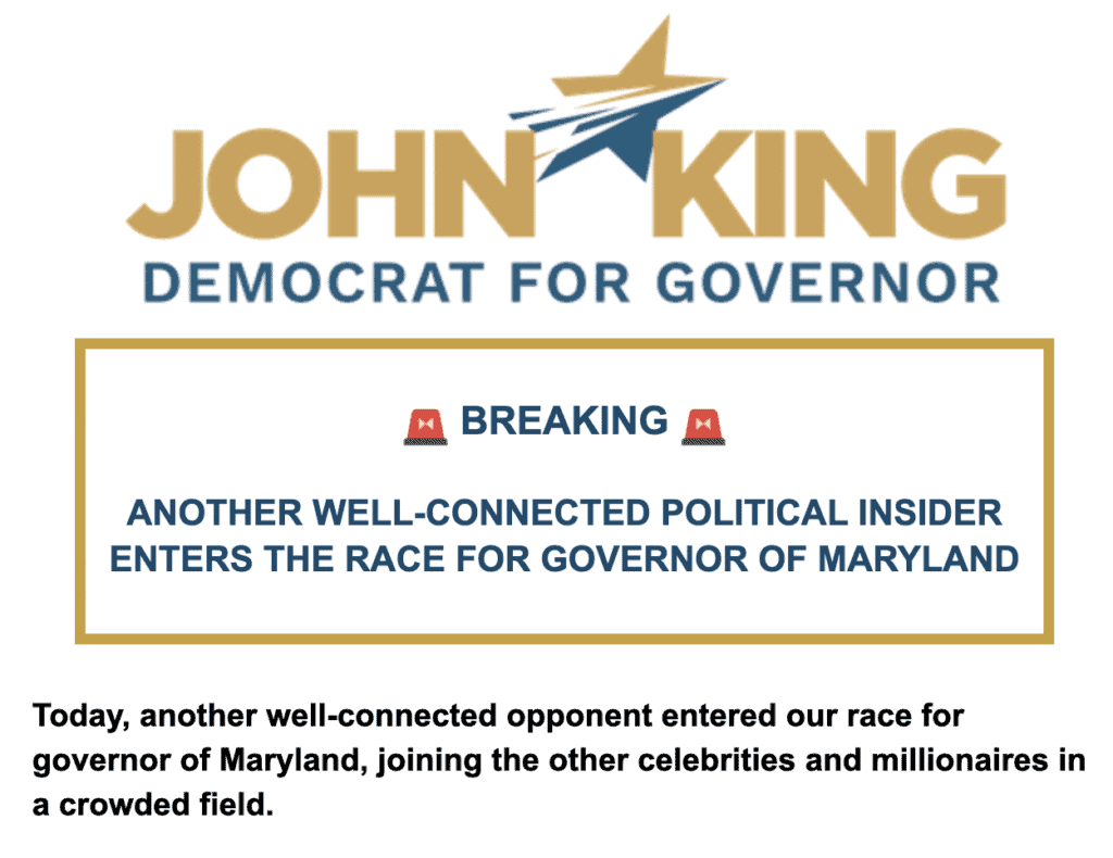 Is John King running for Maryland governor?