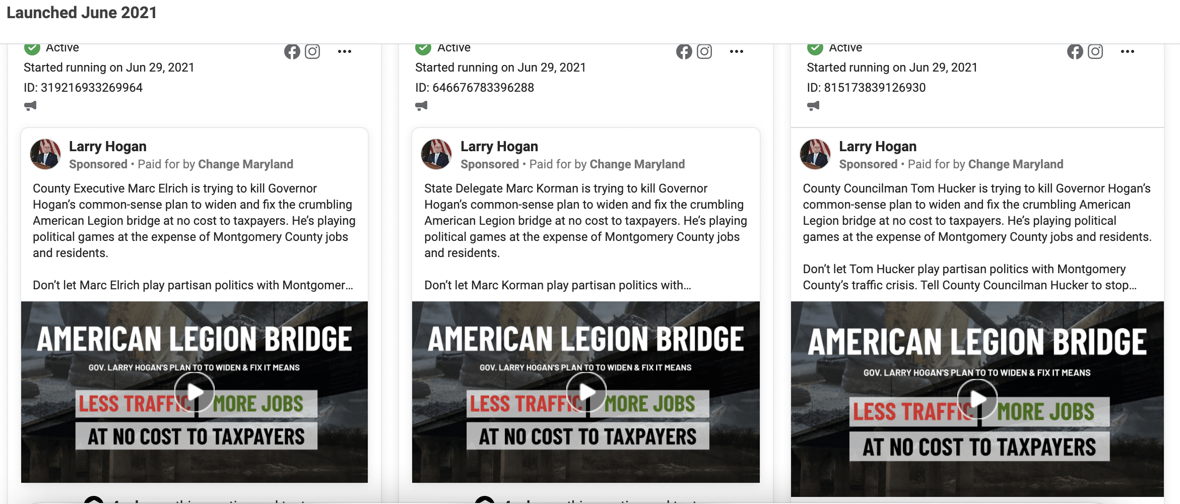 Change Maryland PAC Facebook ad campaign targeting Marc Elrich, Marc Korman and Tom Hucker