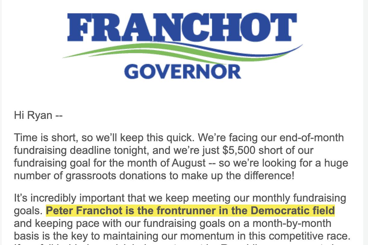 Franchot calls himself the Democratic frontrunner